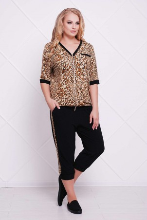 Tatiana: Костюм спортивный (леопард) LEO бежевый - фото 1