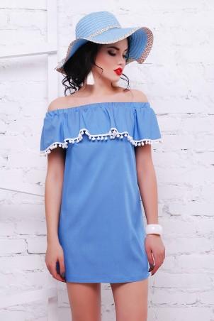 TessDress: Джинсовое платье с открытыми плечами и помпонами «Марлетт» 1467 - фото 1