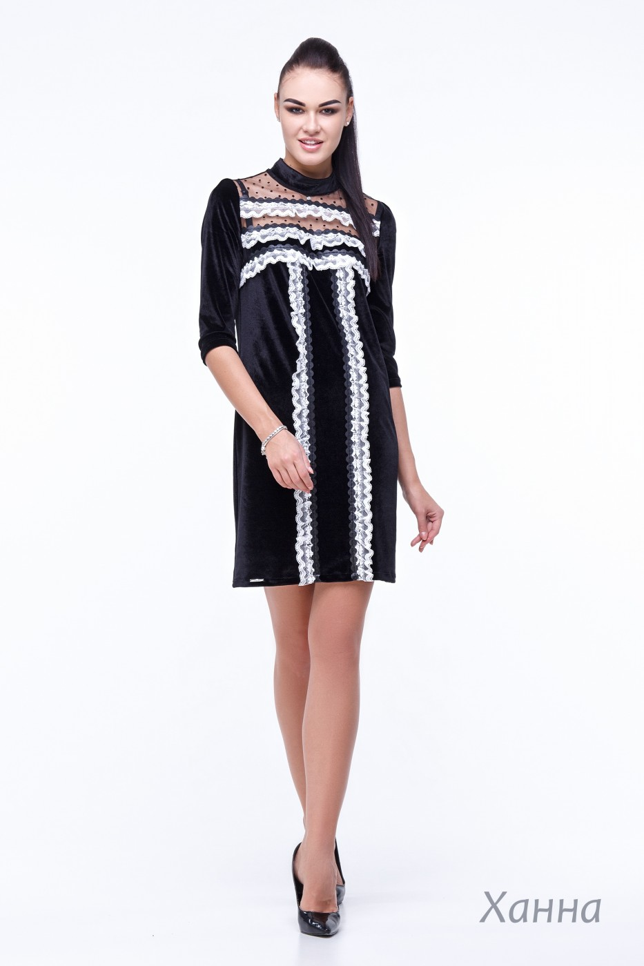 987e328a0fe5cd3 Платье ХАННА цветов черный, чёрный с белой отделкой, синий с чёрной ...