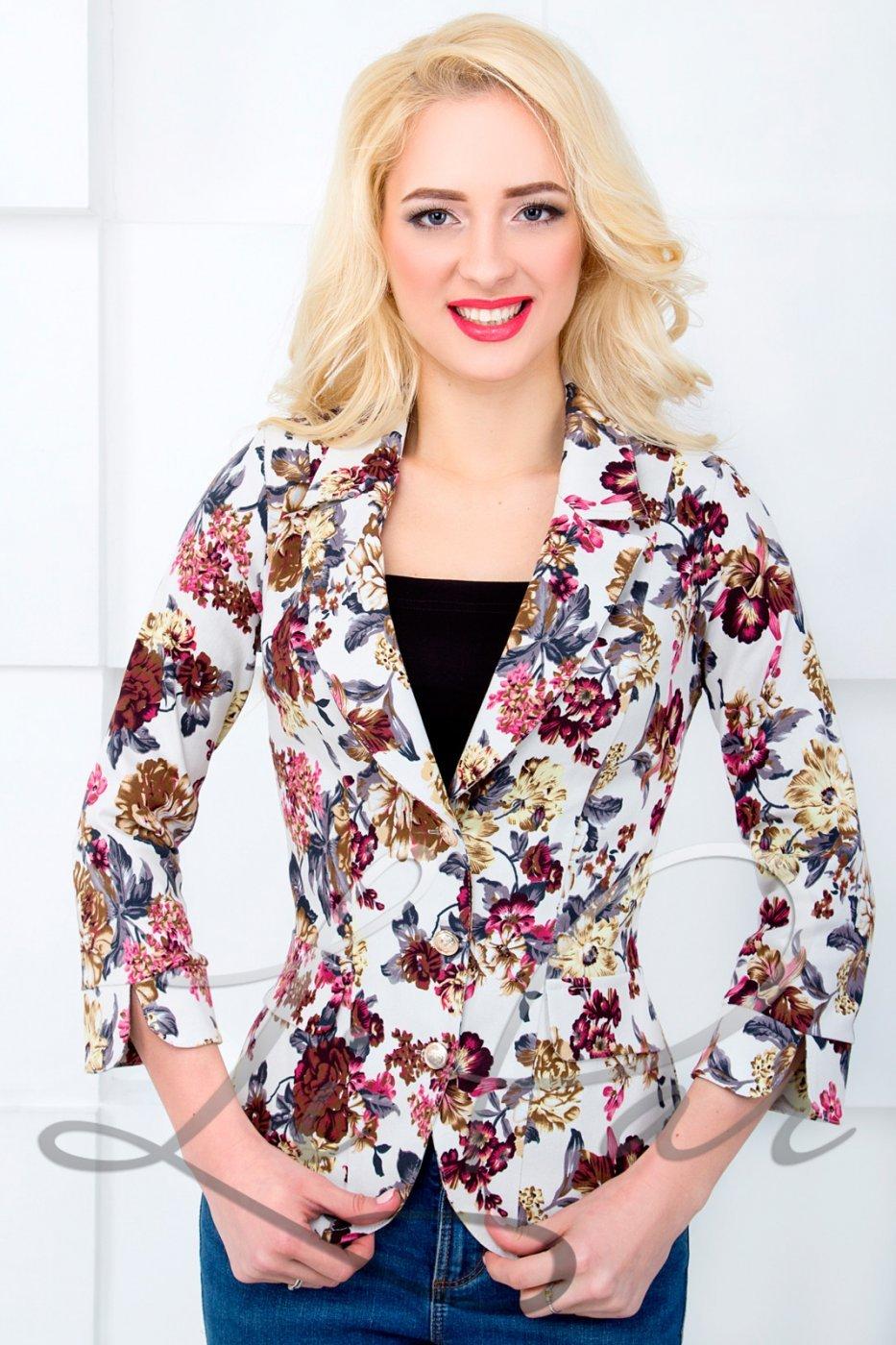 1ea8bc890f7f9 LiPar: Коттоновый женский пиджак с цветочным принтом Белый Батал 1018 белый  - фото 1 ...