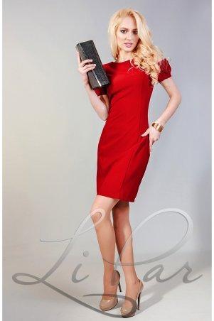 LiPar: Стильное платье из костюмной ткани Красное 3054 красный - фото 1