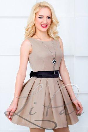 LiPar: Платье нарядное Бежевое 608 бежевый - фото 1