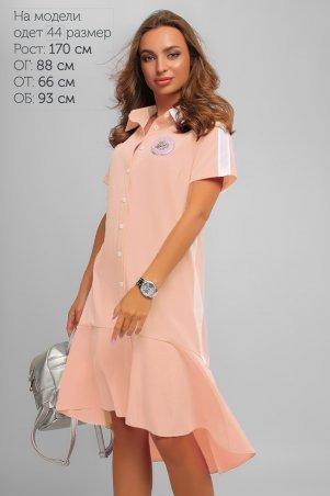 LiPar: Яркое Асимметричное Платье Пудра Батал 3267 пудра - фото 1