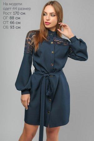 LiPar: Короткое Платье с пояском Синее 3253 синий - фото 1