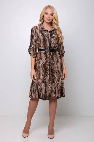 Tatiana: Платье с застежкой спереди ПЕРИС коричневое - фото 1