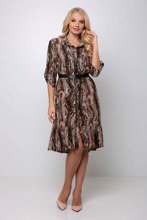 Tatiana: Платье с застежкой спереди ПЕРИС коричневое - фото 8