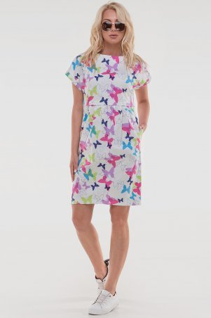 V&V: Платье 2832.9 белое с малиновым 2832.9 - фото 1