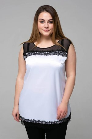Tatiana: Атласная блуза с кружевом ТОНИ белая - фото 1