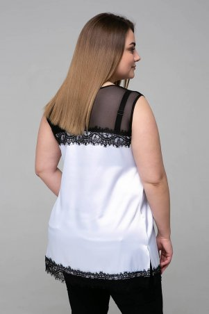 Tatiana: Атласная блуза с кружевом ТОНИ белая - фото 2