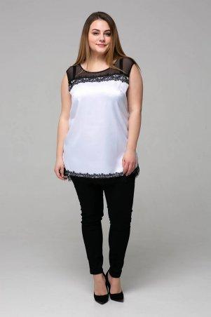 Tatiana: Атласная блуза с кружевом ТОНИ белая - фото 4