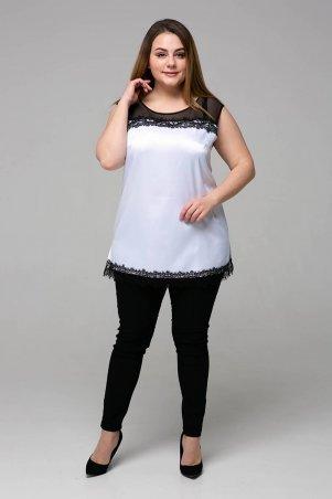 Tatiana: Атласная блуза с кружевом ТОНИ белая - фото 5