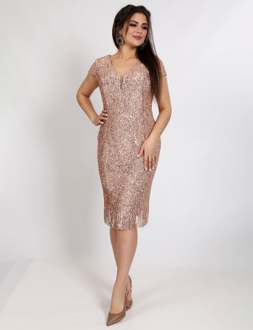 Enigma: Платье коктейльное из мягкой пайетки на секте с рукавами-крылышками P2029 - фото 7