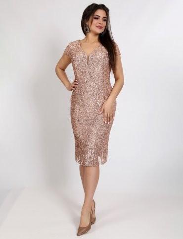 Enigma: Платье коктейльное из мягкой пайетки на секте с рукавами-крылышками P2029 - фото 1