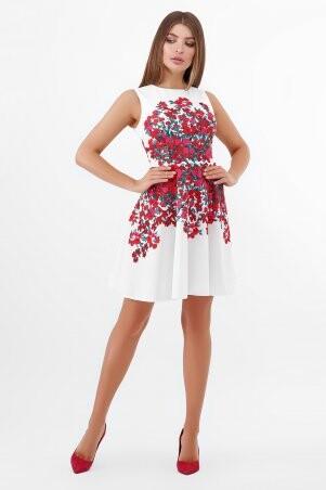 Glem: Разноцветные цветы платье Альба б/р белый p56944 - фото 1