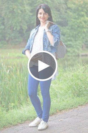 Nowa Ty: Лосины Фитнес синие 16020201 - перейти к видео товара